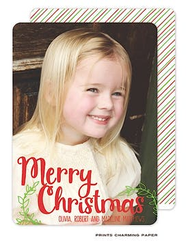 Vertical Merry Christmas Flat Photo Card