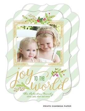 Joy to the World Holiday Flat Photo Card