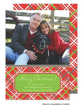 Red Holiday Plaid Flat Photo Card