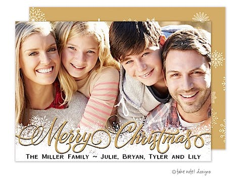 Gold Christmas Overlay Snowflakes Flat Photo Holiday Card