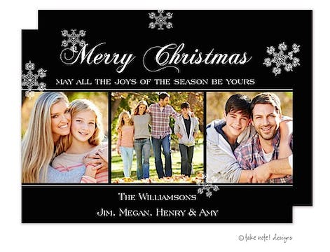 Black Simple Trio Flat Photo Holiday Card