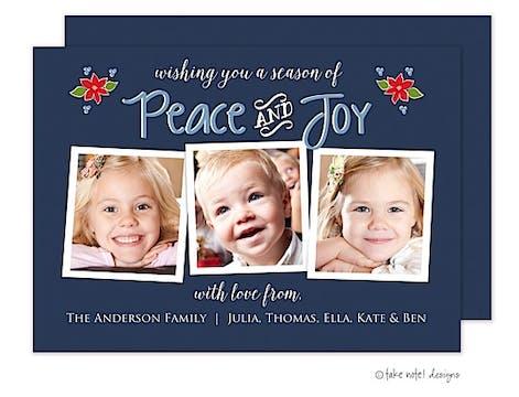 peace and joy christmas poinsettias blue 3 Flat Photo Flat Photo Holiday Card