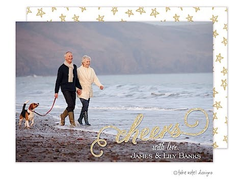 cheers sparkle overlay Flat Photo Holiday Card