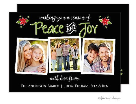 Peace and Joy Christmas Poinsettias Black Flat Photo Holiday Card