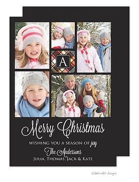 Plaid Monogram Center Holiday Flat Photo Card