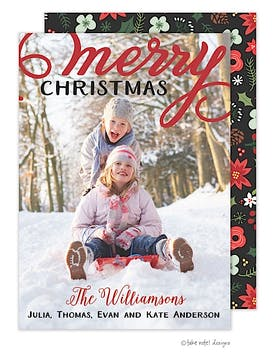 Merry Bold Overlay Flat Photo Holiday Card