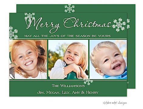 Snapshots Trio Green Flat Photo Holiday Card