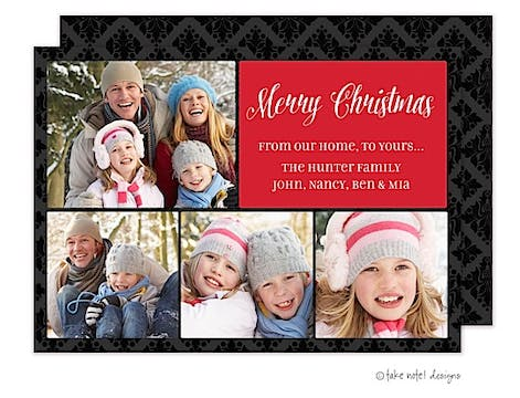 Simple Red on Damask  Flat Photo Holiday Card