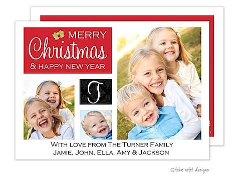Monogram Damask Holiday Flat Photo Card