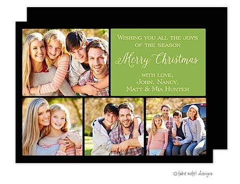 Classic Christmas Squares Green Flat Photo Holiday Card