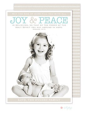 Joy and Peace Holiday Flat Photo Card