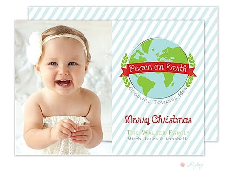 Peace on Earth Christmas Flat Photo Card