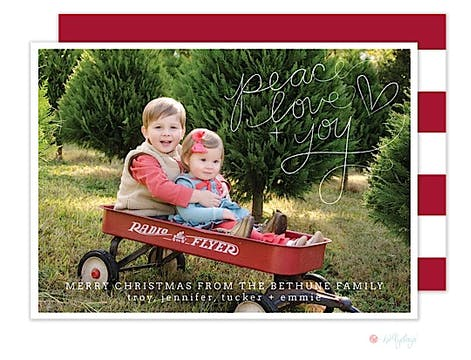 Handwritten Wishes Christmas Flat Photo Card