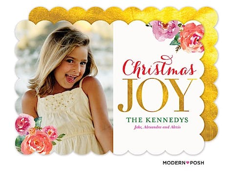 Golden Christmas Joy Holiday Flat Photo Card