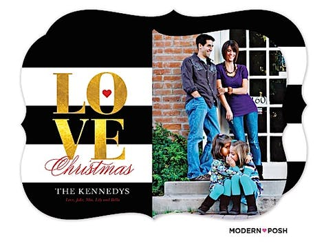 Golden Christmas Love Holiday Flat Photo Card