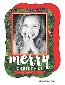 Modern Christmas Greenery Holiday Flat Photo Card