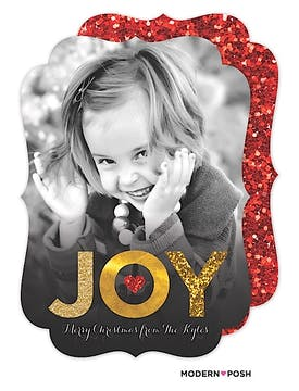 Glittering Christmas Joy Holiday Flat Photo Card