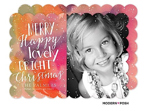 Merry Happy Watercolor Holiday Flat Photo Card