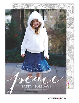 Simple Peace Holiday Flat Photo Card