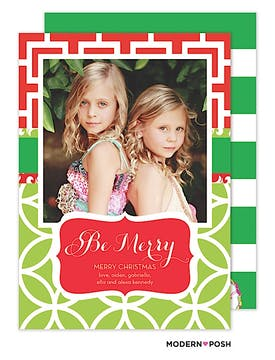 Be Merry Patterned Holiday  Flat Photo Card