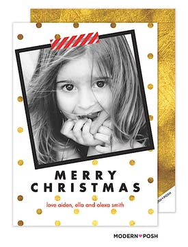 Mod Gold Dot Christmas Holiday Flat Photo Card