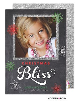 Chalkboard Christmas Bliss Flat Photo Card
