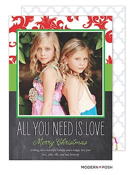 All You Need Is Love Holiday Chalkboard  Flat Photo Card