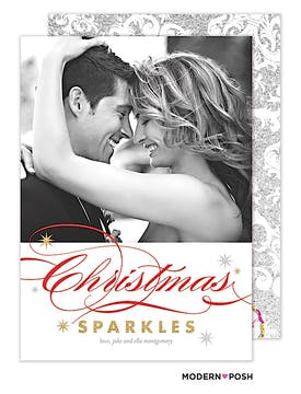 Christmas Sparkles Holiday  Flat Photo Card