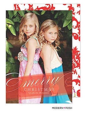 Colorful Red Christmas Holiday  Flat Photo Card