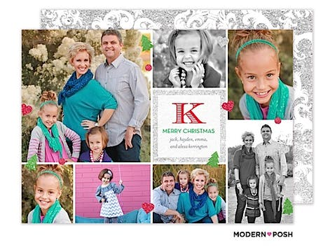 Sparkle Monogram Holiday  Flat Photo Card