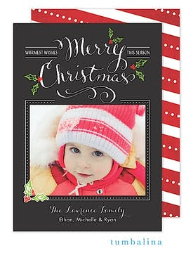 Holly Season Holiday Flat Photo Card