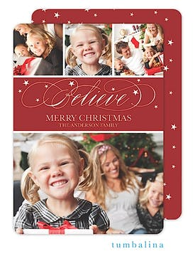 Believe Swirls Holiday Flat Photo Card
