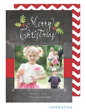 Hand-lettered Merry Script Chalkboard Holiday Flat Photo Card
