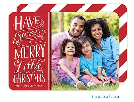 Merry Little Christmas Handlettered Red Holiday Flat Photo Card