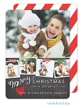 Taped Snapshots Chalkboard Holiday Flat Photo Card