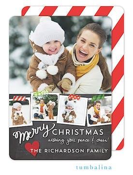 Taped Snapshots Chalkboard Holiday Flat Photo Card