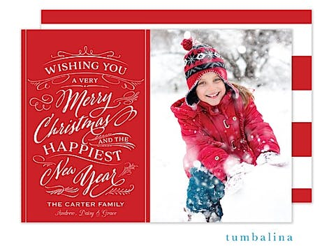 Whimsical Christmas Wish Holiday Flat Photo Card