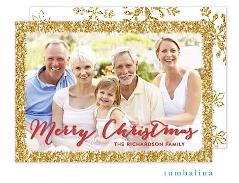 Dazzling Border Holiday Flat Photo Card