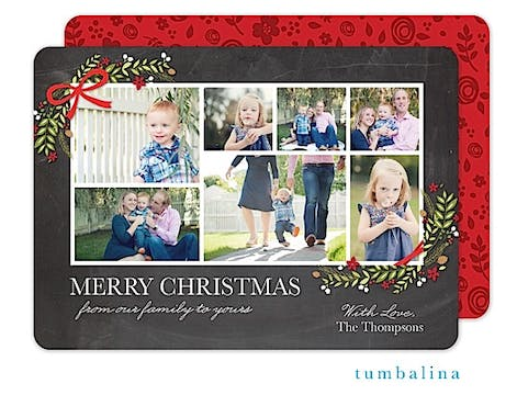Holly Corners Collage Holiday Flat Photo Card