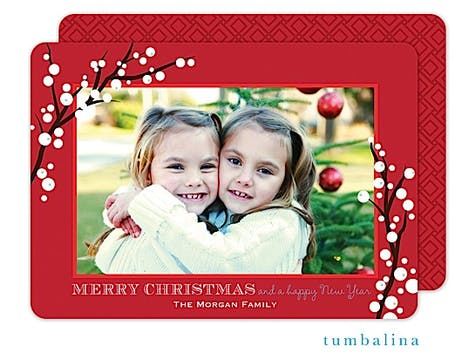 Winterberry Frame Red Holiday Flat Photo Card