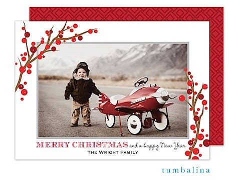 Winterberry Frame White Holiday Flat Photo Card