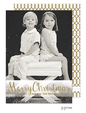 Golden Merry Vertical Holiday Flat Photo Card