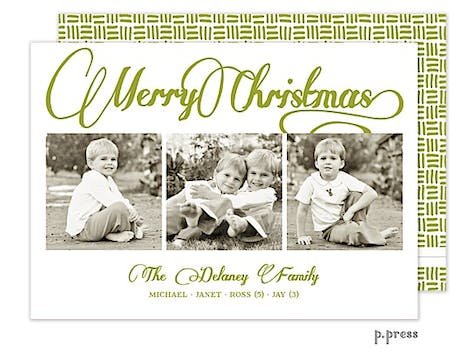 Scripted Merry Holiday Flat Photo Card