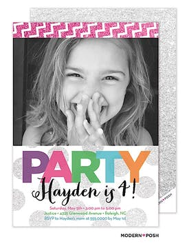 Party In Color Photo Invitation