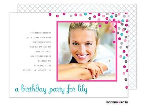 Confetti Party Photo Invitation
