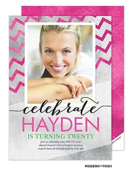 Chevron (Faux) Foil Birthday Photo Invitation