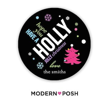 Holly Jolly Holiday 2 Inch Gift Sticker