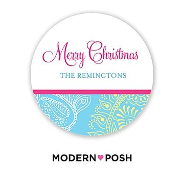 Paisley Holiday 2 Inch Gift Sticker