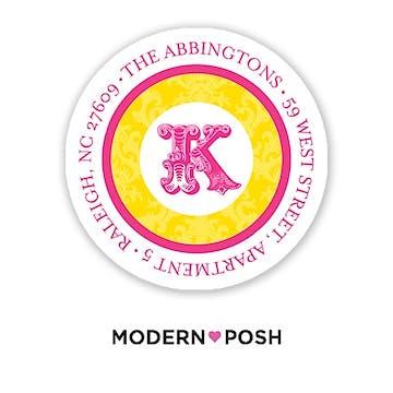 Yellow Damask Posh 2 Inch Round Address Label Yellow & Pink