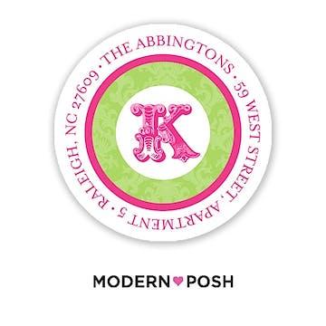 Green Damask Posh 2 Inch Round Address Label Green & Pink